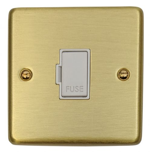 G&H CSB90W Standard Plate Satin Brushed Brass 1 Gang Fused Spur 13A Unswitched